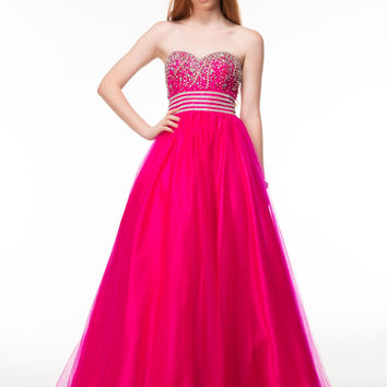 GLOW G441 Beaded Tulle Ball Gown Prom Dress