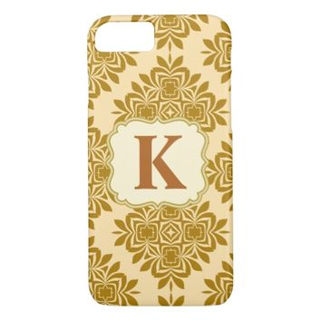 Golden Brown Damask Pattern iPhone 7 Case