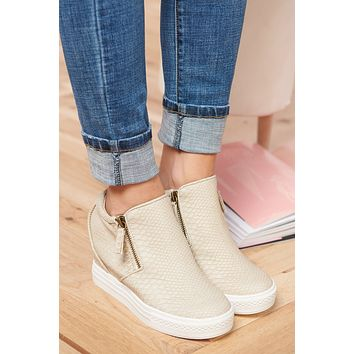 So Mysterious Sneaker Wedges (Cream)