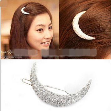 Newest Crystal Moon Rhinestone Hair Accessories For Womenhair Clips For Girls Headdress Hairpin Clamps Scrunchy