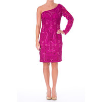 Sue Wong Womens Embroidered One Shoulder Cocktail Dress