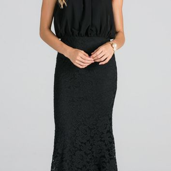 Beaded Neck Halter Blouson Long Formal Dress Black