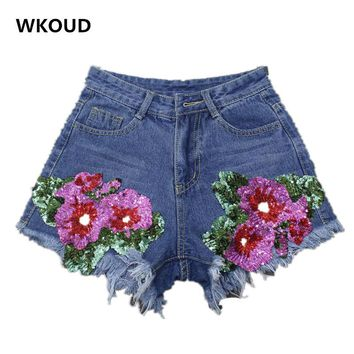 WKOUD Denim Shorts Sequins Floral Embroidery Shorts Women High Waist Blue Moustache Regular Short DK6005