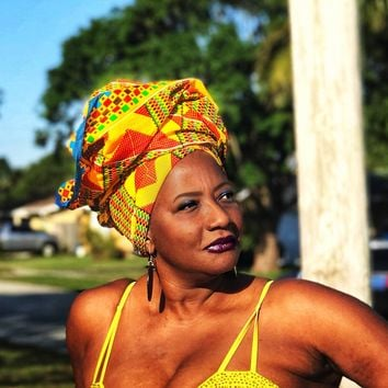 The Mademoiselle Kente African Print  HeadWrap