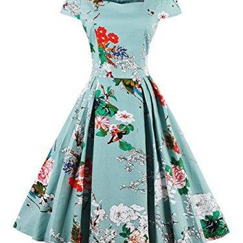CHOiES record your inspired fashion Choies Women White Floral Leaves Oil Painting 1950s Vintage Midi Skater Party Dress
