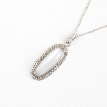 Vintage Sterling Silver Simulated Moonstone Cabochon Necklace - 1930s Art Deco Oblong Oval Baby Blue White Glass Pendant Filigree Jewelry
