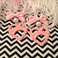 Girly Pink Sweetheart Earrings