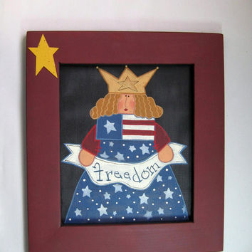 Tole Painted and Framed Freedom Lady Art Work by barbsheartstrokes