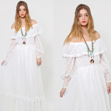 Vintage 70s GUNNE SAX  Wedding Dress Ruffle Lace Prairie Dress Hippie Maxi Dress Boho WEDDING Dress