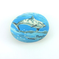 Decorative stone painted in oil painting : Dolphin under water - by Savousepate