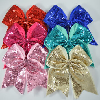 "GIANT 8"" cheer bow, girls bows, bow clips, hair clips, cheer bows, sparkly cheer bows, large cheer bows, cheap cheer bows, big cheer bow"
