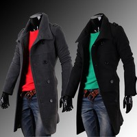 Men Trench Coat - HOT SALE Autumn And Winter Men's Long Double-breasted Coat Windbreaker Coats #1726372