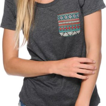 Sirens & Dolls Teal Tribal Pocket Charcoal Scoop Neck T-Shirt