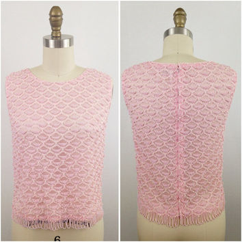 1960's light pink beaded blouse- Beaded lace blouse- Sleeveless blouse- Shirt with beading- Fancy blouse- Blouse with pearls-Evening blouse