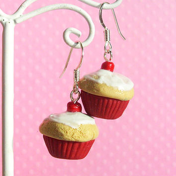 Red Cupcake Earrings, Cherry Vanilla Kawaii Fake Polymer Clay Food Jewelry, For Girls, with White Frosting, Cute Charm for Kids