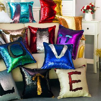 Mermaid Sequin Patchwork Cushions Cover Home Decor Pillowcase Decorative Cushion Covers Pillows Sofa Home Christmas Decorations