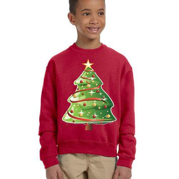 Kids Youth Sweatshirt Christmas Tree Cute Xmas Present Top