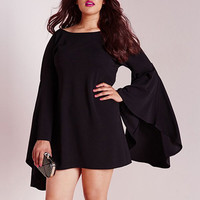 Sweet Black Boat Neck Long Bell Sleeve Plus Size Dress  Sale LAVELIQ