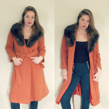 Vintage 1970s Burnt Orange Fur Jacket