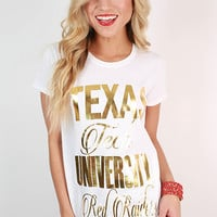 Metallic Foil Crew Tee Texas Tech University