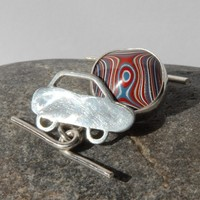 Silver and fordite cufflinks (pair 2)