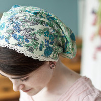 Cotton lace and Juniper flowers victorian snood by GarlandsOfGrace