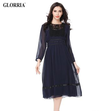 Women Thin Transparent Crochet Chiffon Patchwork Long Sleeve Dress Spring,Summer&Autumn Casual Fit and Flare Dresses