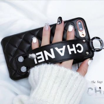 Chanel iphone X leather wristband shatter-resistant 8s bracket couple 6s tide men and women 7 black
