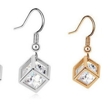 Cube Crystal Zirconia Earrings in silver or gold