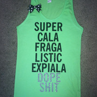 SALE -Super Cala - Dope - Neon Green - UNISEX Tank - Ruffles with Love - Womens Fitness - Workout Tank - Bow Tank