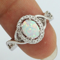 Fashion White Opal CZ Ring