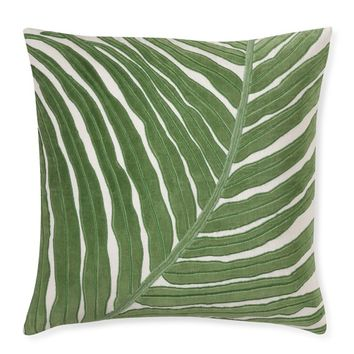 Velvet Leaf Applique Pillow Cover, Green