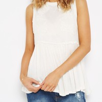 Ivory Rose Embroidered Babydoll Tank by Clover + Scout | Going Out Tank Tops | rue21