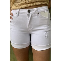 KanCan High Rise Clean Denim Shorts- White
