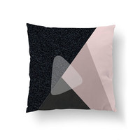 Pink Black Pillow, Abstract Decor, Decorative Pillow, Geometric Triangles, Mid Century, Minimal Art, Throw Pillow, Home Decor, Cushion Cover