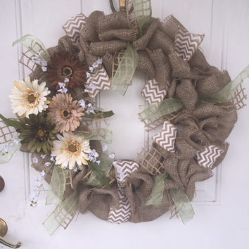 Country decor, rustic decor, earthy tones, home decor, burlap wreath, earth tones, primitive decor. Summer wreath, spring wreath