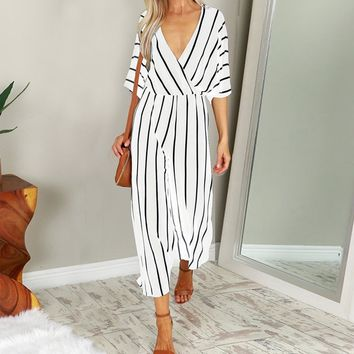 2019 Fashion Women Jumpsuit Summer Casual Wide Leg Pant V-neck Short Sleeve Striped Rompers Office Long Playsuit High Bodysuit