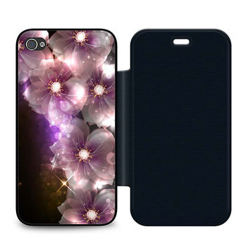 Glowing Flowers White Flip iPhone 4 | 4S Case
