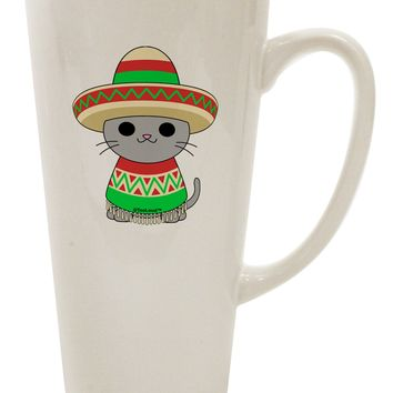 Cat with Sombrero and Poncho 16 Ounce Conical Latte Coffee Mug by TooLoud