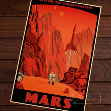 Mars Crimson Canyons Map Vintage Travel Poster Classic Retro Kraft Canvas Maps Wall Sticker Home Bar Posters DIY Decor Gift