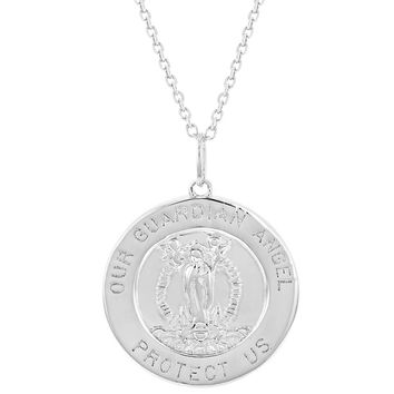 """925 Sterling Silver Guardian Angel Round Medal Religious Pendant Necklace 18"""""""