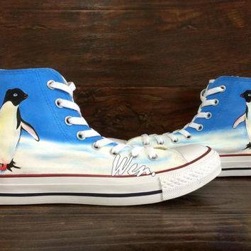 Penguin Converse Penguin Shoes Unique Hand Painted Shoes Converse All Star Canvas Shoe