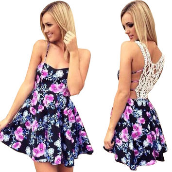 Black Floral Print Strappy Crochet Back Skater Dress