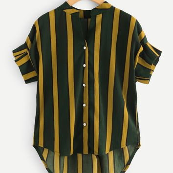Plus Single Breasted Striped Dip Hem Shirt