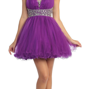 Studded Halter Neckline Empire Waist Purple Cocktail Dress