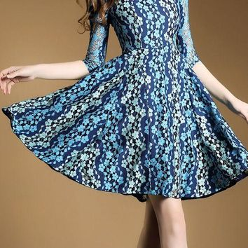 Blue Midi Dress A-line Party Dress 3/4 Sleeve Guipure lace Prom Dresses