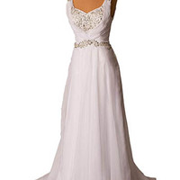 Vintage style beaded white draped chiffon wedding dress #vintagebride #vintagestyleweddingdress #weddingdresses #vintageinspiredgown