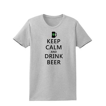Keep Calm and Drink Beer Adult Womens St. Patrick's Day T-Shirt