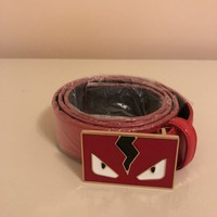 Fendi Monster Belt Men 48'' Red Leather Gold Buckle M