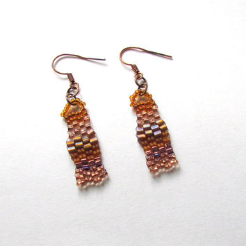 Copper Freeform Earrings  - Copper Beaded Earrings - Freeform Peyote Earrings